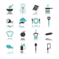 Cooking icons with reflection vector