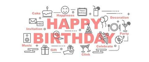 Happy birthday vector banner