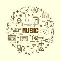 Music minimal thin line icons set vector
