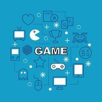Game minimal outline icons vector