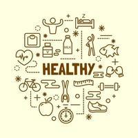 Healthy minimal thin line icons set vector