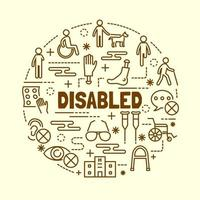 Disabled minimal thin line icons set vector