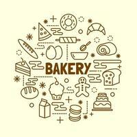 conjunto de iconos de línea fina mínima de panadería