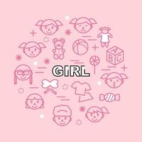 Girl minimal outline icons vector