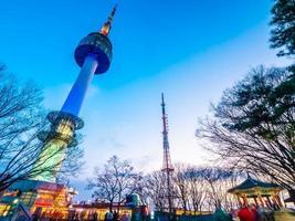 N Seoul tower on Namsan mountain, landmark of Seoul, South Korea photo