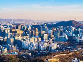 Cityscape in Seoul city, South Korea photo