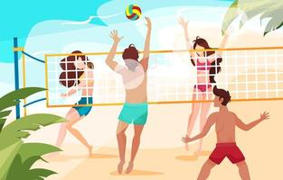 Young People Playing Volley Ball on Beach vector