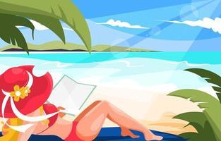 mujeres, relajante, en, playa, en, verano, vacaciones vector