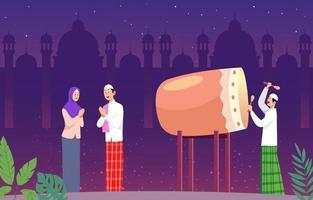 Bedug on The Night of The Eid Celebration vector