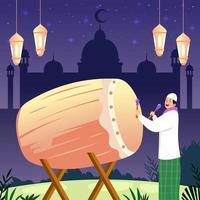 Muslim Boy Hitting Bedug vector