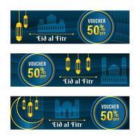 Elegant Blue Eid Al Fitr Voucher Set