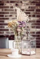 Dry flower decoration in coffee shop photo