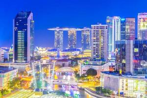 Singapore city at night photo