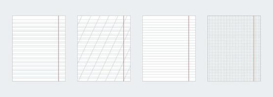 A set of four notebook sheets of different kinds. Vector EPS10.