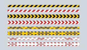 A set of two-color fence tapes. Yellow and black tape for the police, red and white tape for public services. vector