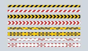 un juego de cintas para vallas de dos colores. cinta amarilla y negra para la policía, cinta roja y blanca para los servicios públicos. vector