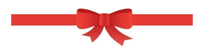 Red tape with bow. Vector decoration for web and card design.