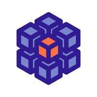 Icono de esquema de matriz 3D. elemento vectorial del conjunto, dedicado a big data y aprendizaje automático. vector