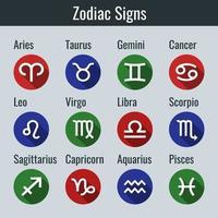 conjunto de 12 signos del zodíaco en estilo de diseño plano vector
