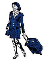 mujer de negocios que va con una maleta vector