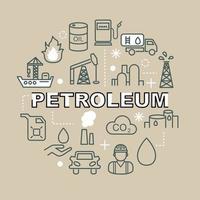 Petroleum minimal outline icons vector