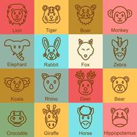 diseño de contorno de animales salvajes vector