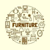 Furniture minimal thin line icons set vector