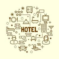 Hotel minimal thin line icons set vector
