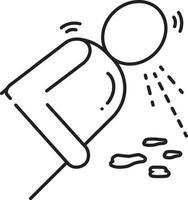 icono de línea para vomitar vector