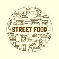 Street food minimal thin line icons set vector