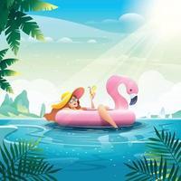 Girls Enjoy Summer Vacation on Flamingo Floater vector