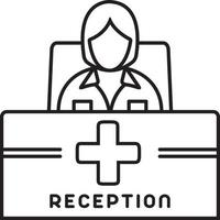 Line icon for receptionist vector