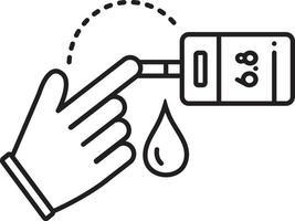 icono de línea para prueba de azúcar en sangre vector