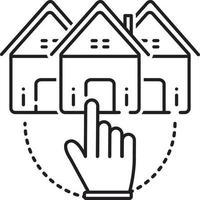 icono de línea para elegir casa vector