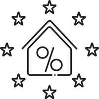 icono de línea de descuento inmobiliario vector