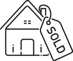icono de línea de bienes raíces vendidos vector