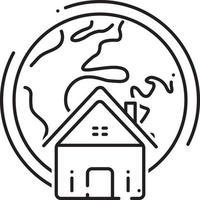 icono de línea de bienes raíces globales vector