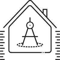 icono de línea para la medición de la casa vector