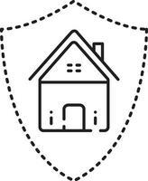 icono de línea de seguro de hogar vector