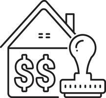 icono de línea para préstamo hipotecario aprobado vector