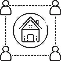 icono de línea de apoyo inmobiliario vector
