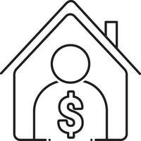 icono de línea para corredor de bienes raíces vector