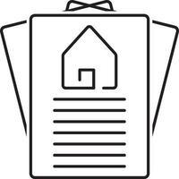 icono de línea para papel de propiedad vector