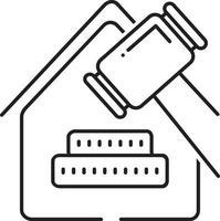 icono de línea de derecho inmobiliario vector