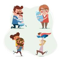 Happy Father's Day Cartoon Characters Concept vector