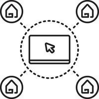 icono de línea para soporte en línea de bienes raíces vector