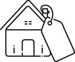 icono de línea de precio de bienes raíces vector