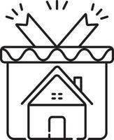 icono de línea para regalo de bienes raíces vector