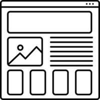 icono de línea para la creación de prototipos de wireframing vector