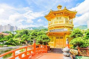 Gold Chinese pavilion in Hong Kong, China photo